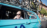 """""""Nr1: Vinokurov"""" <br /> Controversial Astana team manager Alexander Vinokurov does a thumbs up for his (team's) Grand Tour win from the teamcar during the last stage<br /> <br /> stage 21: Alcala de Henares - Madrid (98km)<br /> 2015 Vuelta à Espana"""