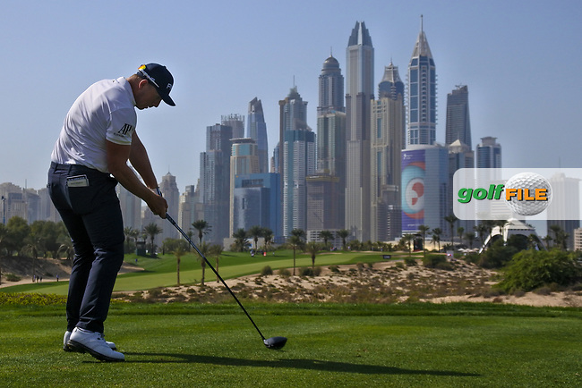 Matt Wallace (ENG) on the 8th tee during Round 3 of the Omega Dubai Desert Classic, Emirates Golf Club, Dubai,  United Arab Emirates. 26/01/2019<br /> Picture: Golffile | Thos Caffrey<br /> <br /> <br /> All photo usage must carry mandatory copyright credit (&copy; Golffile | Thos Caffrey)