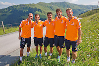 "Austria, Kitzbuhel, Juli 15, 2015, Tennis, Davis Cup, Dutch team on top of the ""Hahnenkam""  ltr:   Thiemo de Bakker, Jean-Julien Rojer,  Jesse Huta Galung, Robin Haase, and Captain Jan Siemerink,<br /> Photo: Tennisimages/Henk Koster"