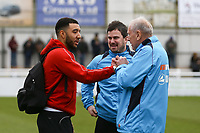 Troy Deeney of Watford chats to Woking assistant manager Martin Tyler ahead of Woking vs Watford, Emirates FA Cup Football at The Laithwaite Community Stadium on 6th January 2019