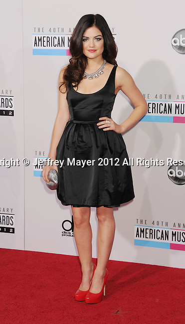 LOS ANGELES, CA - NOVEMBER 18: Lucy Hale attends the 40th Anniversary American Music Awards held at Nokia Theatre L.A. Live on November 18, 2012 in Los Angeles, California.