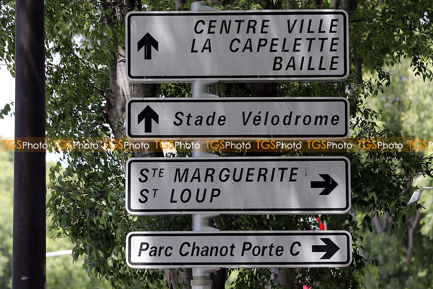 Road signage near the Stadium during a visit to the Stade Velodrome, home of Olympique de Marseille ahead of UEFA Euro 2016 on 22nd May 2016