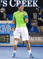 RAFAEL NADAL (ESP) against TOMAS BERDYCH (CZE) in the Quarter Finals of the Men's Singles. Rafael Nadal beat Tomas Berdych 6-7 7-6 6-4 6-3  ..24/01/2012, 24th January 2012, 24.01.2012 - Day 9..The Australian Open, Melbourne Park, Melbourne,Victoria, Australia.@AMN IMAGES, Frey, Advantage Media Network, 30, Cleveland Street, London, W1T 4JD .Tel - +44 208 947 0100..email - mfrey@advantagemedianet.com..www.amnimages.photoshelter.com.