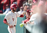 NWA Democrat-Gazette/CHARLIE KAIJO Arkansas Razorbacks infielder Jack Kenley (7) reacts during a baseball game, Sunday, March 17, 2019 at Baum-Walker Stadium in Fayetteville.