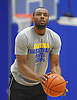 Hofstra University guard No. 1 Juan'ya Green sqaures to the hoop during an informal men's basketball team workout at the team's practice facility on Wednesday, July 22, 2015.<br /> <br /> James Escher
