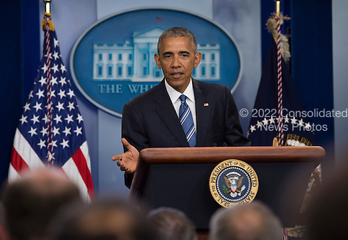 United States President Barack Obama takes questions after delivering remarks on the US Supreme Court decision on immigration in the press briefing room of the White House in Washington, DC, USA, 23 June 2016.<br /> Credit: Molly Riley / Pool via CNP