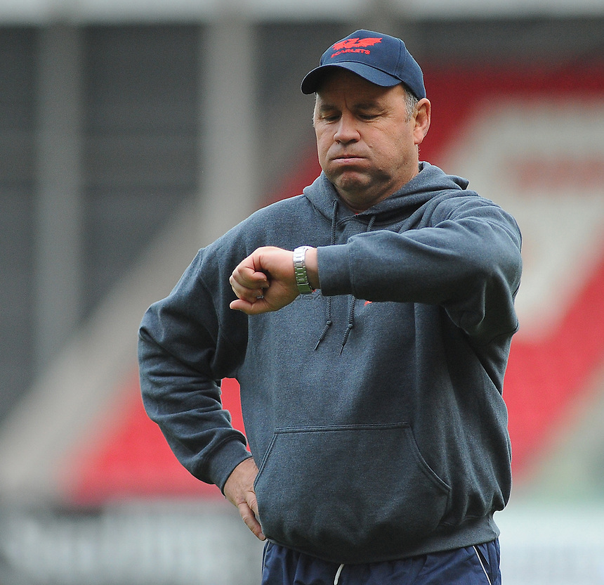 Scarlets' Coach Wayne Pivac during the pre match warm up <br /> <br /> Photographer Kevin Barnes/CameraSport<br /> <br /> Rugby Union - Guinness PRO12 - Scarlets v Newport Gwent Dragons - Sunday 05th October 2014 - Parc y Scarlets - Llanelli<br /> <br /> &copy; CameraSport - 43 Linden Ave. Countesthorpe. Leicester. England. LE8 5PG - Tel: +44 (0) 116 277 4147 - admin@camerasport.com - www.camerasport.com