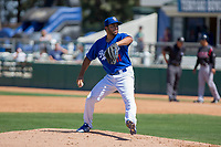 Rancho Cucamonga Quakes starting pitcher Jordan Sheffield (11) warms up between innings during the game against the Lake Elsinore Storm at LoanMart Field on April 22, 2018 in Rancho Cucamonga, California. The Storm defeated the Quakes 8-6.  (Donn Parris/Four Seam Images)