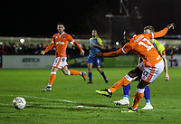 Blackpool's Joe Dodoo shoots at goal <br /> <br /> Photographer Andrew Kearns/CameraSport<br /> <br /> The Emirates FA Cup Second Round - Solihull Moors v Blackpool - Friday 30th November 2018 - Damson Park - Solihull<br />  <br /> World Copyright © 2018 CameraSport. All rights reserved. 43 Linden Ave. Countesthorpe. Leicester. England. LE8 5PG - Tel: +44 (0) 116 277 4147 - admin@camerasport.com - www.camerasport.com
