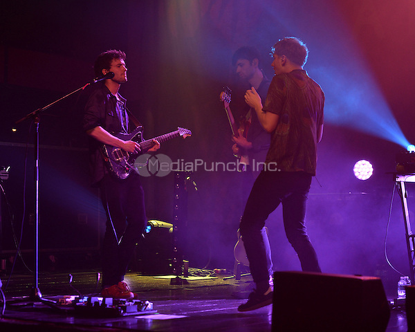 FORT LAUDERDALE FL - DECEMBER 08: Drew MacFarlane, Edmund Irwin-Singer and Dave Bayley of Glass Animals perform at Revolution on December 8, 2015 in Fort Lauderdale, Florida. Credit: mpi04/MediaPunch