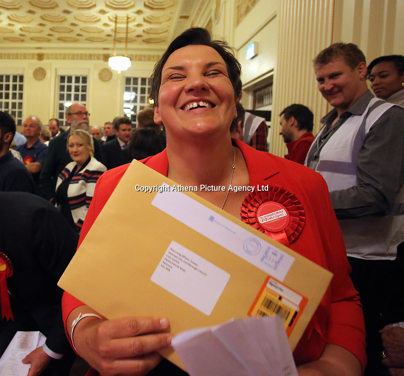 Pictured: Labour candidate for Gower constituency Tonia Antoniazzi clutches the official results handed over by the returning officer after her win was announced.  Friday 09 June 2017<br />Re: Counting of ballots at Brangwyn Hall for the general election in Swansea, Wales, UK