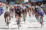 Jolien D'hoore (BEL) Wiggle High5 outsprints Coryn Rivera (USA) Team Sunweb and Roxane Fournier (FRA) FDJ Nouvelle Aquitaine-Futuroscope to win the Madrid Challenge by La Vuelta was ridden over 87km, with 15 laps on a 5.8km route around the iconic Plaza Cibeles, Madrid, Spain. 10th September 2017.<br /> Picture: Unipublic/&copy;photogomezsport | Cyclefile<br /> <br /> <br /> All photos usage must carry mandatory copyright credit (&copy; Cyclefile | Unipublic/&copy;photogomezsport)