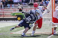 College Park, MD - April 8, 2017: Penn State Nittany Lions Nick Aponte (10) gets knocked down by a Maryland Terrapins defender during game between Penn State and Maryland at  Capital One Field at Maryland Stadium in College Park, MD.  (Photo by Elliott Brown/Media Images International)