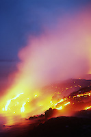 Lava river falling into the Pacific Ocean in Hawaii Volcanoes National Park