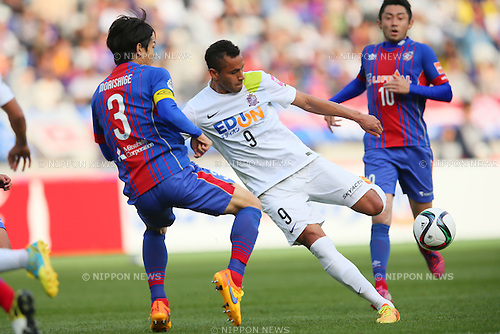 Douglas (Sanfrecce), <br /> APRIL 18, 2015 - Football /Soccer : <br /> 2015 J1 League 1st stage match <br /> between F.C. Tokyo 1-2 Sanfrecce Hiroshima <br /> at Ajinomoto Stadium, Tokyo, Japan. <br /> (Photo by YUTAKA/AFLO SPORT) [1040]