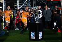 Jaguares captain Jeronimo De La Fuente leads his team out  for the 2019 Super Rugby final between the Crusaders and Jaguares at Orangetheory Stadium in Christchurch, New Zealand on Saturday, 6 July 2019. Photo: Joe Johnson / lintottphoto.co.nz