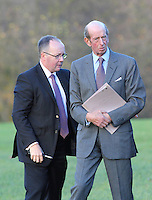 The Duke of Kent is escorted into Rotherham prior to boarding his helicopter this afternoon.<br /> STOCK IMAGES<br /> <br /> 12/11/2014<br /> <br /> Picture By - Alex Roebuck - www.alexroebuck.co.uk <br /> Byline MUST Read - Alex Roebuck