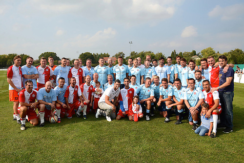 07.09.2014.  Poole, England. Charity match in aid of MND sufferer Andrew Culliford. Poole Town and the Select XI line up before the match.