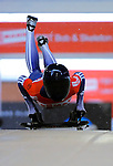 14 December 2007: Amy Williams, racing for Great Britain, starts her second run of the FIBT World Cup Skeleton Competition at the Olympic Sports Complex on Mount Van Hoevenberg, at Lake Placid, New York, USA. ..Mandatory Photo Credit: Ed Wolfstein Photo