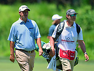 Potomac, MD - June 30, 2017: Johnson Wagner and his caddie, Matt Hauser, walk along the 10th fairway after his tee shot during Round 2 of professional play at the Quicken Loans National Tournament at TPC Potomac at Avenel Farm in Potomac, MD, June 30, 2017.  (Photo by Don Baxter/Media Images International)