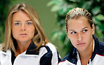 Tenis, Fed Cup 2011, play-off for group A.Slovakia Vs. Serbia, Official Draw.Dominika Cibulkova, right and Daniela Hantuchova.Bratislava, 15.04.2011..foto: Srdjan Stevanovic/Starsportphoto ©