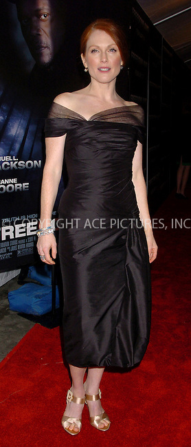 WWW.ACEPIXS.COM . . . . .  ....NEW YORK, FEBRUARY 13, 2006....Julianne Moore at the premiere of 'FreedomLand' held at Loews Lincoln Square Theatre.....Please byline: AJ Sokalner - ACEPIXS.COM.... *** ***..Ace Pictures, Inc:  ..Philip Vaughan (212) 243-8787 or (646) 769 0430..e-mail: info@acepixs.com..web: http://www.acepixs.com