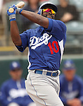 Dodgers' Tony Gwynn Jr. during an at-bat in a Cactus League preseason game between the Dodgers and the A's in Scottsdale, Ariz., on Wednesday, March 7, 2012. The game ended 3-3..Photo by Cathleen Allison