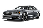 Stock pictures of low aggressive front three quarter view of 2018 Audi S8 4.0-TFSI-quattro-Tiptronic-Plus  4 Door Sedan