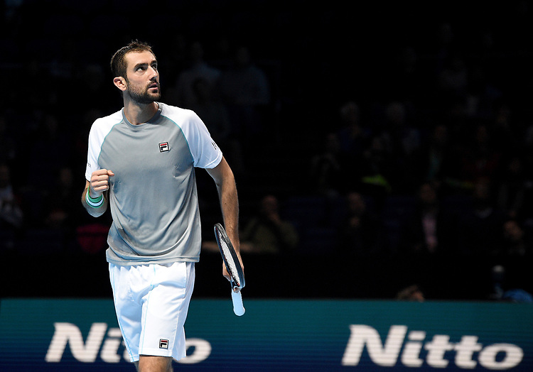 Marin Cilic (CRO) in action against Alexander Zverev (GER)  in their Group Guga Kuerten match<br /> <br /> Photographer Hannah Fountain/CameraSport<br /> <br /> International Tennis - Nitto ATP World Tour Finals Day 2 - O2 Arena - London - Monday 12th November 2018<br /> <br /> World Copyright © 2018 CameraSport. All rights reserved. 43 Linden Ave. Countesthorpe. Leicester. England. LE8 5PG - Tel: +44 (0) 116 277 4147 - admin@camerasport.com - www.camerasport.com