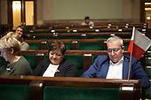 WARSAW, POLAND, December 25, 2016:  Members of Civic Platform are sitting in the plenary hall. Polish opposition MP's from Civic Platform and Modern parties have been occupying the Sejm, Polish parliament since December 16 in protest to the government's curbing of free press access to the parliament.<br /> (Photo by Polish opposition MP for Piotr Malecki /  Napo Images)***WARSZAWA, 25/12/2016:<br /> Poslowie opozycji parlamentarnej siedza na sali plenarnej podczas okupacji Sejmu przez opozycje. n/z m.in. Izabela Leszczyna (PO)<br /> Fot: Poslanka opozycji dla Piotra Maleckiego / Napo Images<br /> ****<br /> ###ZDJECIE MOZE BYC UZYTE W KONTEKSCIE NIEOBRAZAJACYM OSOB PRZEDSTAWIONYCH NA FOTOGRAFII### ### Cena zdjecia w/g cennika FORUM plus 50% (cena minimalna 100 PLN)