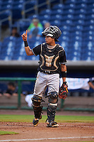 Jupiter Hammerheads catcher Rodrigo Vigil (7) signals one out during the first game of a doubleheader against the Clearwater Threshers on July 25, 2015 at Bright House Field in Clearwater, Florida.  Jupiter defeated Clearwater 8-5.  (Mike Janes/Four Seam Images)