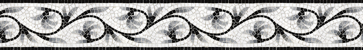 "5 3/4"" Romanza border, a hand-cut mosaic shown in polished Nero Marquina, Thassos, Bardiglio, and Carrara by New Ravenna."