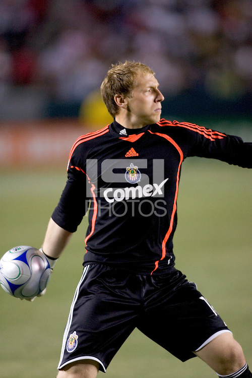 Chivas USA goalkeeper Brad Guzan (18) during the Super Clasico MLS match. The LA Galaxy defeated Chivas USA 5-2 during the SuperClasico at the Home Depot Center Stadium, in Carson, California, Saturday, April 26, 2008.