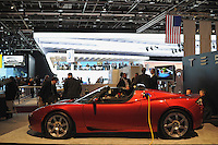 The Tesla hybrid roadster is seen at the Detroit Auto Show in Detroit, Michigan on January 11, 2009.