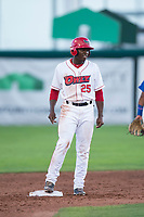 Orem Owlz left fielder Johan Sala (25) stands on second base during a Pioneer League game against the Ogden Raptors at Home of the OWLZ on August 24, 2018 in Orem, Utah. The Ogden Raptors defeated the Orem Owlz by a score of 13-5. (Zachary Lucy/Four Seam Images)