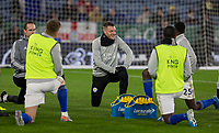 26th December 2019; King Power Stadium, Leicester, Midlands, England; English Premier League Football, Leicester City versus Liverpool; Jamie Vardy of Leicester City stretches with his team before the match - Strictly Editorial Use Only. No use with unauthorized audio, video, data, fixture lists, club/league logos or 'live' services. Online in-match use limited to 120 images, no video emulation. No use in betting, games or single club/league/player publications