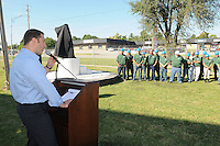 NWA Democrat-Gazette/FLIP PUTTHOFF <br /> SPINACH AND MORE<br /> Mike Zelkind, president of Sager Creek Vegetable Company, delivers remarks before workers unveiled a new statue of Popeye the Sailor during ceremonies Friday Sept. 18 2015 to mark the opening of the Springdale location of Sager Creek Vegetable Company. The facility, formerly Allen Canning Co., has been closed for some time but is now operating under the Sager Creek name. The company headquarters are in Siloam Springs. Del Monte Foods owns Sager Creek Vegetable Company and has opted to keep the original name, Zelkind said.