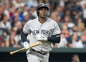 New York Yankees shortstop Didi Gregorius (18) runs to first as he flies out to right field in the first inning against the Baltimore Orioles at Oriole Park at Camden Yards in Baltimore, MD on Tuesday, August 6, 2019.<br /> Credit: Ron Sachs / CNP<br /> (RESTRICTION: NO New York or New Jersey Newspapers or newspapers within a 75 mile radius of New York City)