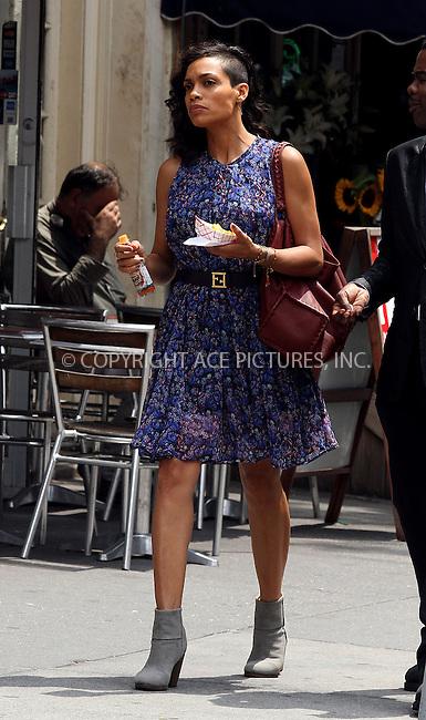 WWW.ACEPIXS.COM<br /> <br /> June 27 2013, New York City<br /> <br /> Actor Rosario Dawson on the set of Chris Rock's new movie project on June 27 2013 in New York City<br /> <br /> By Line: Zelig Shaul/ACE Pictures<br /> <br /> <br /> ACE Pictures, Inc.<br /> tel: 646 769 0430<br /> Email: info@acepixs.com<br /> www.acepixs.com