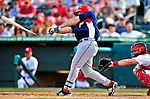 10 March 2010: Washington Nationals' outfielder Kevin Mench breaks his bat during a Spring Training game against the St. Louis Cardinals at Roger Dean Stadium in Jupiter, Florida. The Cardinals defeated the Nationals 6-4 in Grapefruit League action. Mandatory Credit: Ed Wolfstein Photo