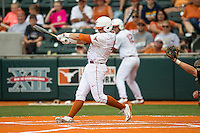 Texas Longhorns first baseman Kacy Clemens #42 strikes out in the bottom on the ninth inning of the NCAA baseball game against the Oklahoma State Cowboys on April 26, 2014 at UFCU Disch–Falk Field in Austin, Texas. The Cowboys defeated the Longhorns 2-1. (Andrew Woolley/Four Seam Images)