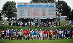 BLAINE, MN - AUGUST 03: The gallery closes in on the 18th green to watch Kenny Perry hit a birdie putt to win the 3M Championship at TPC Twin Cities on August 3, 2014 in Blaine, Minnesota.  (Photo by Steve Dykes/Getty Images) *** Local Caption *** Kenny Perry