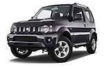 Stock pictures of low aggressive front three quarter view of a 2014 Suzuki JIMNY JLX X-Citement 3 Door SUV 4WD Low Aggressive