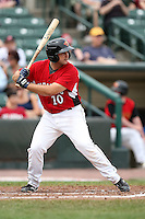 May 2, 2010:  Catcher Allan de San Miguel of the Rochester Red Wings at bat during a game vs. the Durham Bulls at Frontier Field in Rochester, NY.  Rochester defeated Durham in extra innings by the score of 7-6.  Photo By Mike Janes/Four Seam Images