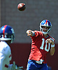 Eli Manning #10, New York Giants starting quarterback, throws a pass to running back Shane Vereen #34 during practice at Quest Diagnostics Training Center in East Rutherford, NJ on Monday, Aug. 29, 2016.
