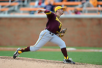 Arizona State Sun Devils pitcher Eric Melbostad #38 delivers a pitch during a game against  the Tennessee Volunteers at Lindsey Nelson Stadium on February 23, 2013 in Knoxville, Tennessee. The Volunteers won 11-2.(Tony Farlow/Four Seam Images).