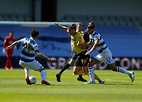 18th July 2020; The Kiyan Prince Foundation Stadium, London, England; English Championship Football, Queen Park Rangers versus Millwall; Ryan Leonard of Millwall is challenged by Dominic Ball of Queens Park Rangers