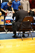 Coach Mike Krzyzewski awaits his team before the start of Saturday's much anticipated match-up between Duke and UNC. Duke handily defeated UNC 82-50 in the last regular season game at Cameron Indoor Stadium in Durham, N.C., Sat., March 6, 2010.