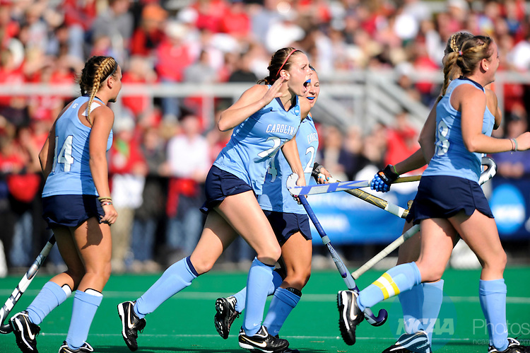 21 NOV 2010:  Meghan Dawson (21) of the University of North Carolina celebrates her goal during the 2010 NCAA Women's Division I Field Hockey Championship held on the campus of the University of Maryland in College Park, MD. Maryland defeated North Carolina 3-2 in double overtime to win the national title. Brett Wilhelm/NCAA Photos