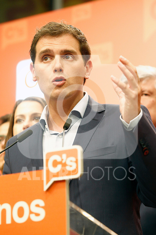 Ciudadanos (Citizens) party leader Albert Rivera speaks after learning the final general elections results. June 26,2016. (ALTERPHOTOS/Acero)